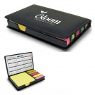 Compact leatherette covered box with: colorful sticky notes, flags, Place for calendar, photo or logo, 100 sticky notes,90 Flags